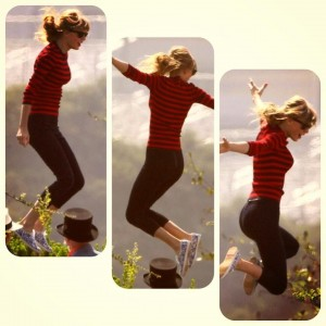 Taylor Swift on her trampoline