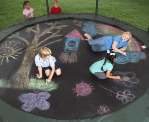Using chalks on a trampoline can be fun