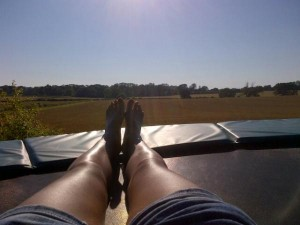 Trampolines are great for sunbathing on
