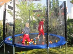 plastic balls on a trampoline